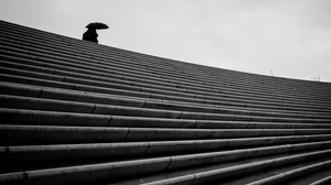 Preview wallpaper bw, loneliness, staircase, umbrella
