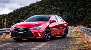 Preview wallpaper atara, camry, front view, red, toyota