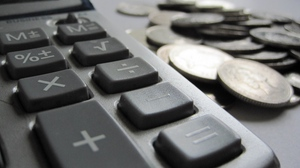 Preview wallpaper calculator, close-up, money, penny