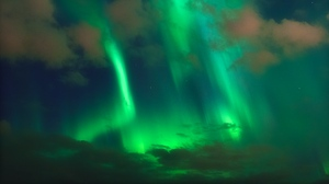 Preview wallpaper aurora, clouds, night, northern lights, sky