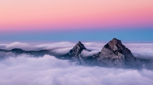 Preview wallpaper clouds, mountains, peaks, sky, switzerland