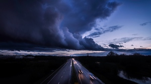 Preview wallpaper clouds, cloudy, horizon, movement, road