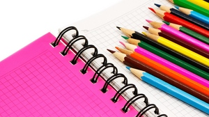 Preview wallpaper colored pencils, notebook, pencil, picture, positive
