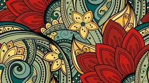 Preview wallpaper colorful, flowers, leaves, ornament, patterns, vector