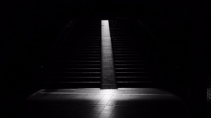 Preview wallpaper bw, dark, darkness, room, staircase