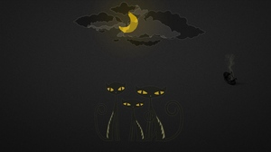 Preview wallpaper black, cats, drawing, sky, yellow
