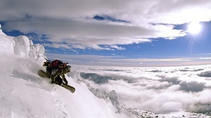 Preview wallpaper clouds, descent, extreme, height, sky, snowboard, top