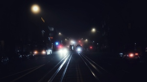 Preview wallpaper fog, night, night city, san francisco, transport, united states