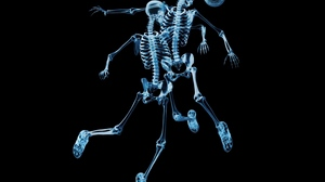 Preview wallpaper ball, football, picture, skeletons, x-ray