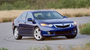 Preview wallpaper 2009, acura, asphalt, blue, cars, front view, grass, nature, shrubs, style, trees, tsx, v6