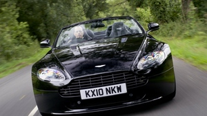 Preview wallpaper 2010, aston martin, black, front view, nature, style, v8, vantage