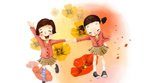 Preview wallpaper drawing, flowers, girl, joy, laughter, skirts