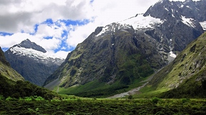 Preview wallpaper greatness, greens, height, mountains, sky, snow