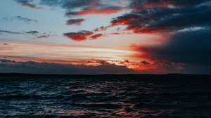 Preview wallpaper clouds, horizon, sea, sunset, surf, waves