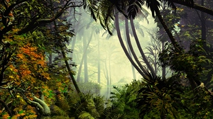 Preview wallpaper fog, jungle, palm trees, trees