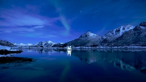 Preview wallpaper boat, ice, lake, mountains, starry sky, sunset