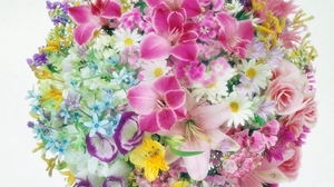 Preview wallpaper balloon, bouquets, carnations, daisies, flowers, lilies, roses, tenderness