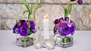 Preview wallpaper beakers, candles, flowers, lisianthus russell, tulips