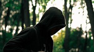 Preview wallpaper anonymous, forest, hood, man