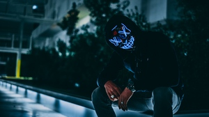 Preview wallpaper anonymous, darkness, face, glow, hood, mask