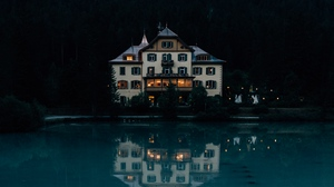 Preview wallpaper forest, house, lake, mountains, nature