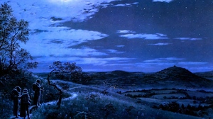 Preview wallpaper moon, nature, night, trail, travelers