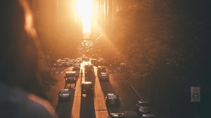 Preview wallpaper city, new york, road, sunset, traffic, united states