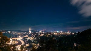 Preview wallpaper aerial view, city lights, night, night city, starry sky