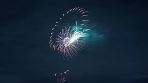 Preview wallpaper fireworks, night, rays, salute, sky, sparks