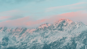 Preview wallpaper clouds, landscape, mountains, pink, snow