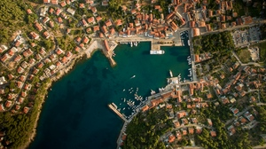 Preview wallpaper aerial view, city, coast, port, roofs