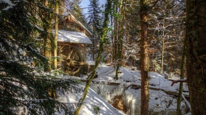 Preview wallpaper forest, landscape, mill, river, winter