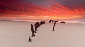 Preview wallpaper beach, columns, evening, outflow, sand, silence, stakes