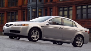 Preview wallpaper 2004, acura, asphalt, buildings, cars, side view, style, tl, white metallic