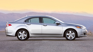 Preview wallpaper 2008, acura, asphalt, cars, mountains, side view, silver metallic, style, sunset, tsx