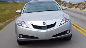 Preview wallpaper 2009, acura, cars, front view, grass, road, silver metallic, sky, speed, style, zdx