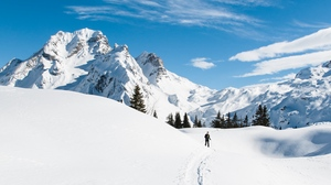 Preview wallpaper mountains, path, skier, snow, snowy
