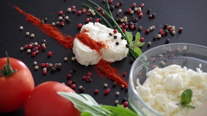 Preview wallpaper cheese, feta cheese, spices