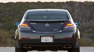 Preview wallpaper 2011, acura, blue, cars, forest, nature, rear view, style, tl