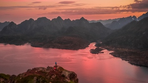 Preview wallpaper aerial view, lake, mountains, peaks, sky, sunset