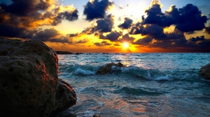Preview wallpaper sea, stones, sunset, surf