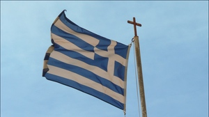 Preview wallpaper flag, greece, material, symbol, wind