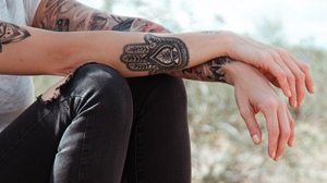 Preview wallpaper clothes, hands, legs, style, tattoos