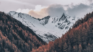 Preview wallpaper aerial view, clouds, italy, mountains, sky, snow, trees