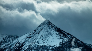 Preview wallpaper clouds, mountain, peak, slope, snow, trees