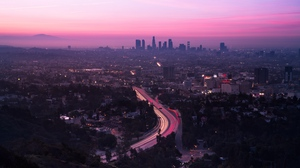 Preview wallpaper aerial view, city, los angeles, road, sunset, united states