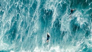 Preview wallpaper aerial view, ocean, surfers, surfing, waves