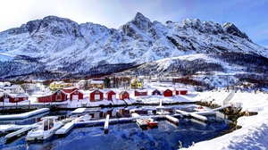 Preview wallpaper bay, buildings, mountains, norway, snow, winter